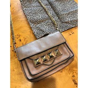 Linea Pelle tan gold stud shoulder bag